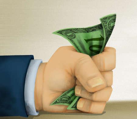 Fist Gripping Dollar Bill