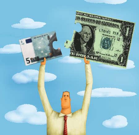 Man Piecing Together Currencies