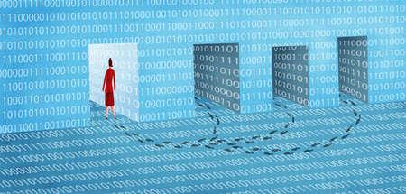 Business Woman Entering Open Doorway of Binary Codes