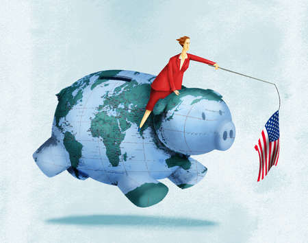 Business Woman With American Flag Leading Global Economy