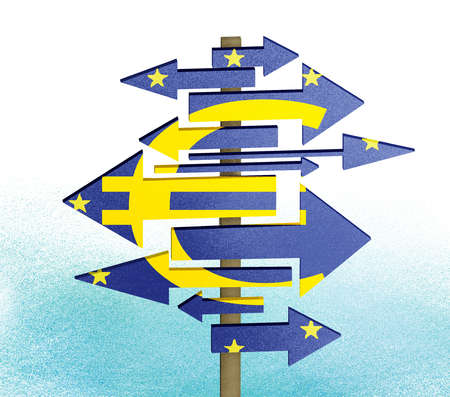 EU Sign Pointing In Different Directions
