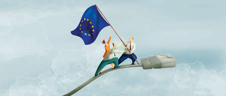 EU Flag Being Lifted On Plug