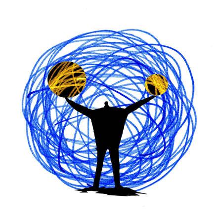 Man Holding Circular Energy