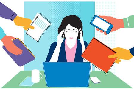 Woman in Stressful Workplace