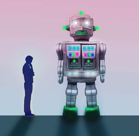 Man Looking At Robot