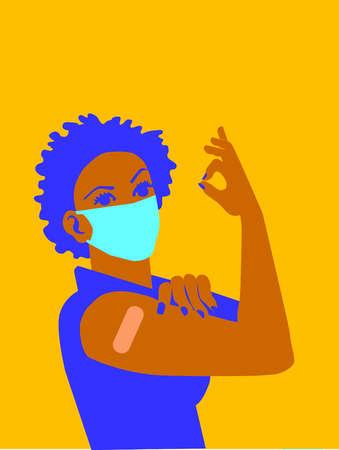Woman Flexing Vaccination Shot