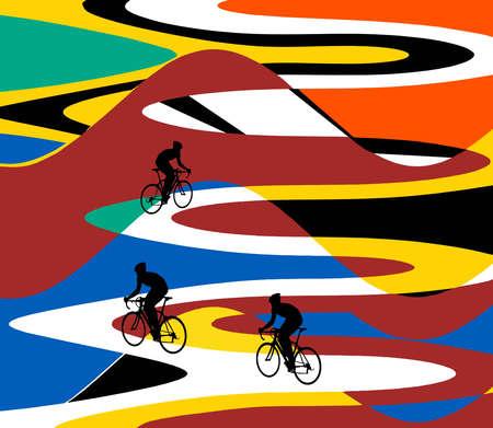 Bikers on Winding Path
