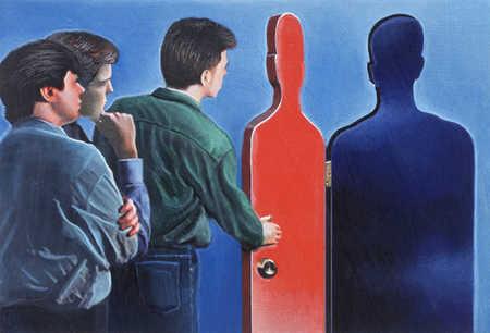 Three men and door