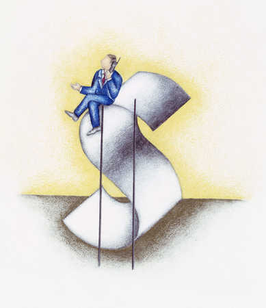 Man Sitting On Dollar Sign