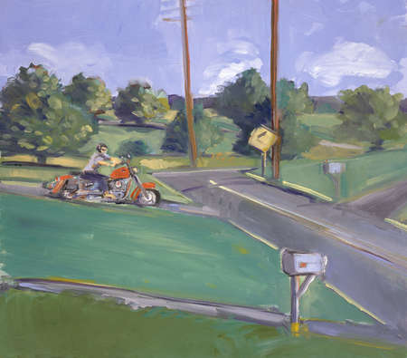 Motorcyclist On Country Road