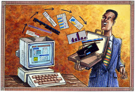 Businessman collecting computer information