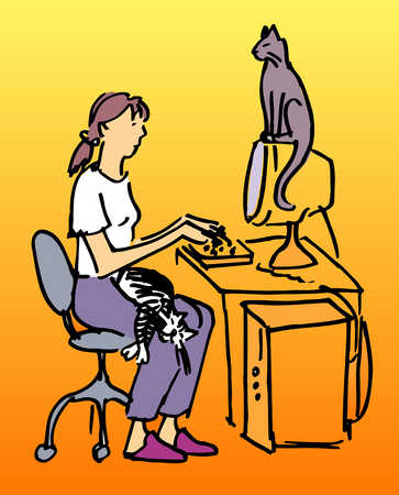 Woman, computer and cats