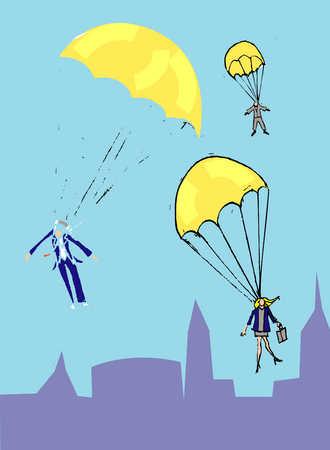 Parachuting people
