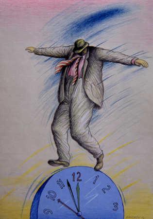 Man Balancing On Clock