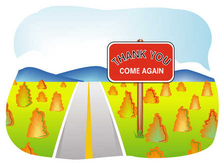 Thank You Come Again Road Sign