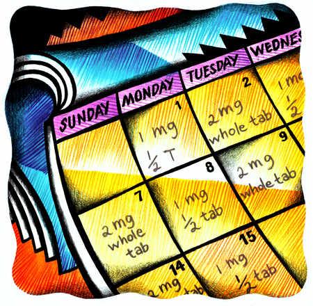Calendar with dosage schedule