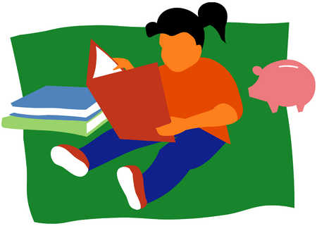 Girl With Books And Piggy Bank