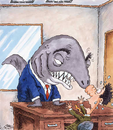 Shark in suit scaring man in office