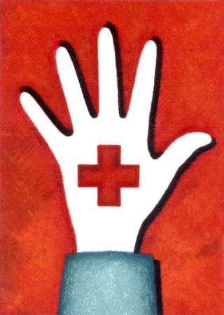Red cross hand