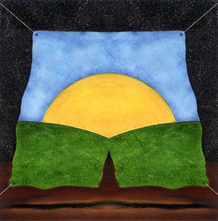 Sunrise hanging on canvas
