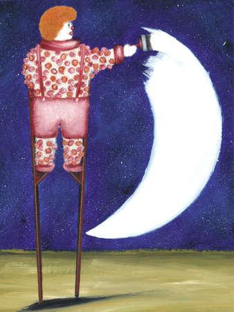 Clown painting moon