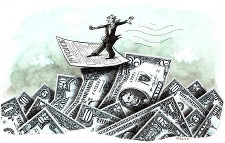 Man On Pile Of Cash