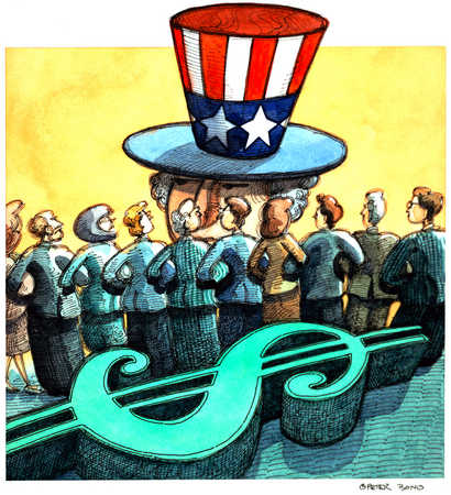 Uncle Sam And Big Dollar Sign