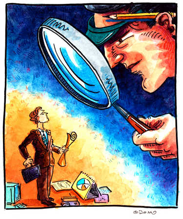 Magnifying Glass On Businessman