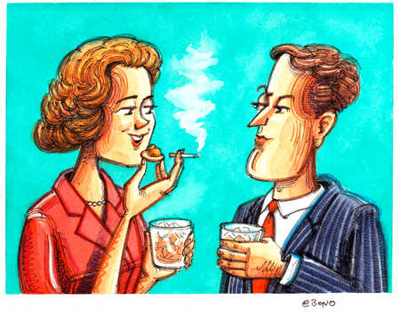 Couple With Drinks/Woman Smokes