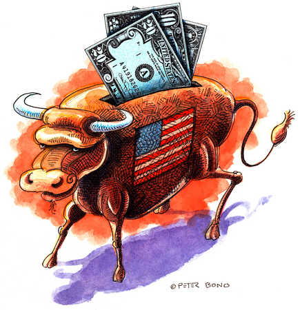 Bull With Dollar Bills And US Flag