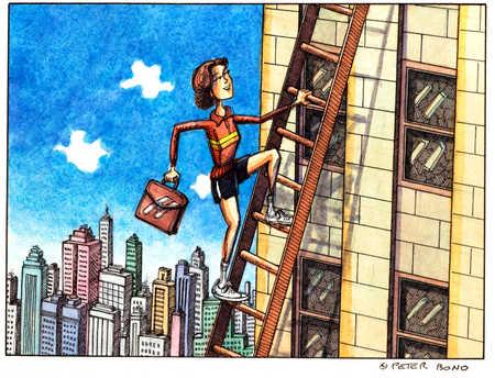 Businesswoman Climbs Ladder Against Building