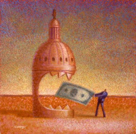 Man feeding a building money