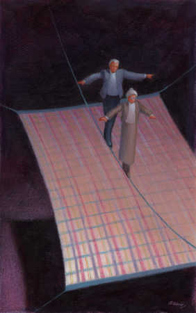 Elderly couple tightrope-walking over a plaid blanket