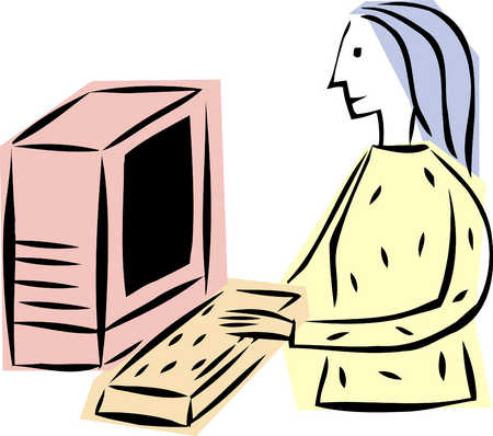 Female Working On Computer