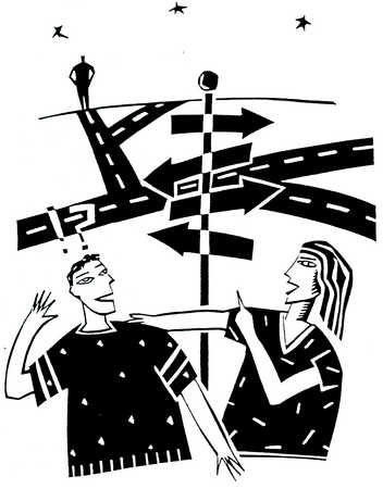 Confused Man At Crossroads, Woman Pointing The Way