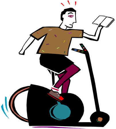 Man On Exercise Bike With Book