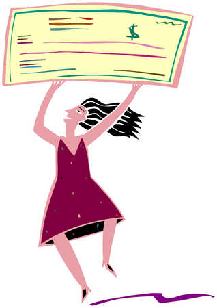 Woman With Giant Check