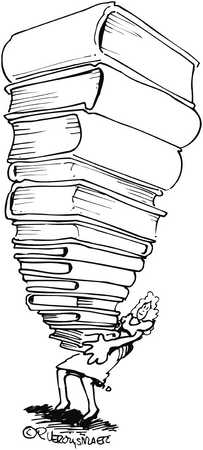 Woman Holding Pile Of Books