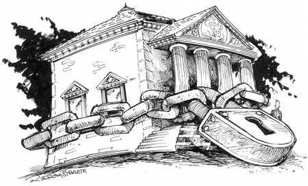Bank with giant padlock