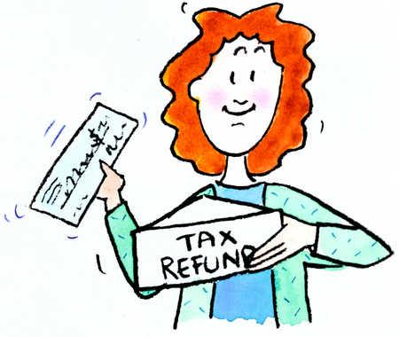 Woman showing off tax return