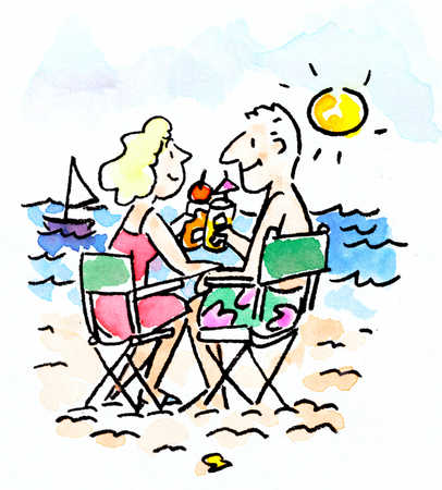 Man and woman toasting drinks on the beach