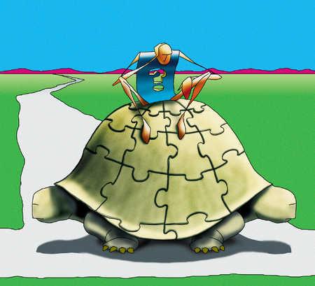 Man on turtle's back