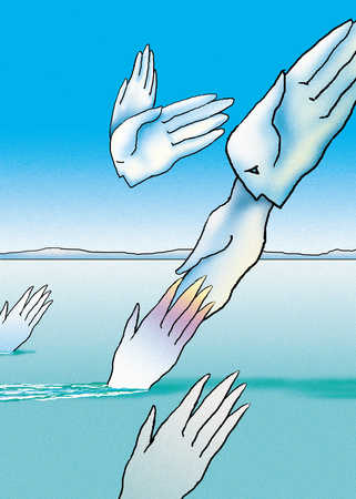 Hands ascending from water