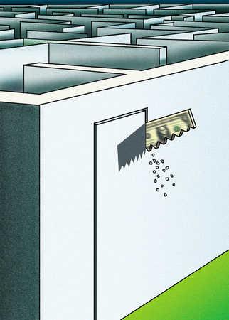 Money saw cutting doorway