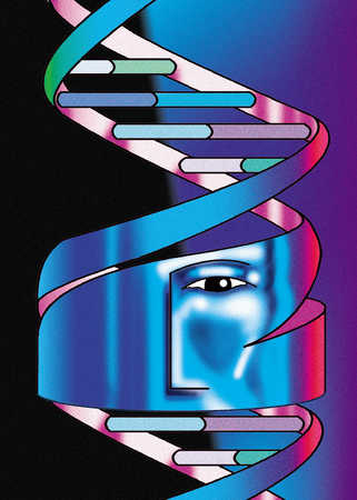 DNA chain with reflective face