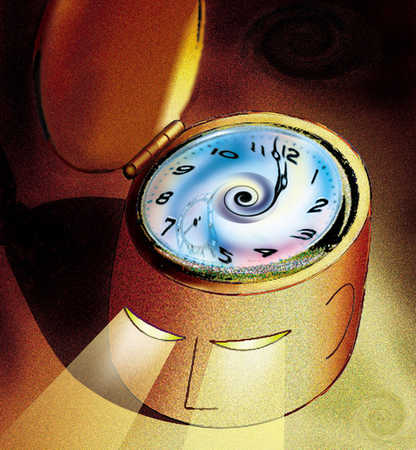 Time piece head with light beam eyes