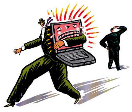 Businessman Runs With Laptop