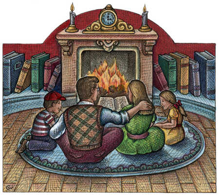 Family Sitting Around Fireplace