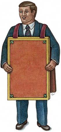 Man Wearing Picket Sign