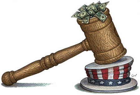 Gavel Crushing Uncle Sam's Hat